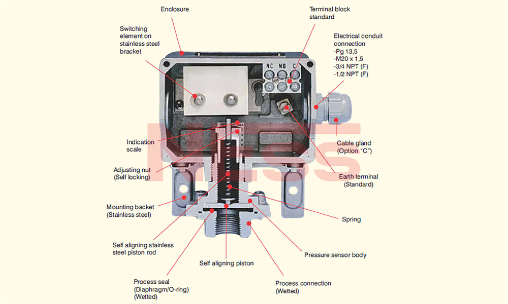 PRESSURE / DIFFERENTIAL SWITCH (SPRING LOADED)